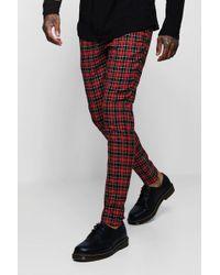 Boohoo - Tartan Smart Trouser With Zip Ankle Detail - Lyst