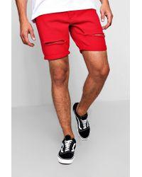 Boohoo - Slim Fit Distressed Red Denim Shorts - Lyst