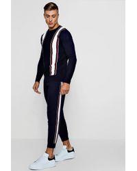 Boohoo - Varsity Stripe Knitted Set - Lyst
