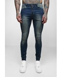 BoohooMAN - Super Skinny Cuffed Jeans With Pockets - Lyst