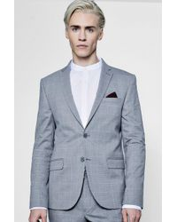 Boohoo - Window Pane Check Skinny Fit Suit Jacket - Lyst