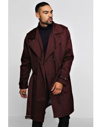 Boohoo - Check Lined Double Breasted Trench - Lyst