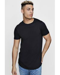 Boohoo - Short Sleeve Longline T Shirt With Curve Hem - Lyst