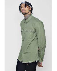 Boohoo - Distressed Detail Utility Shirt - Lyst