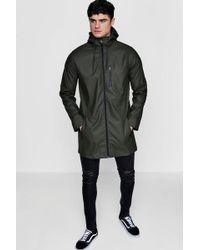 Boohoo - Khaki Zip Through Rubberised Hooded Mac - Lyst