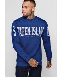 Boohoo - Staten Island Sweatshirt - Lyst
