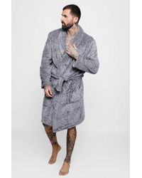 Boohoo - Mens Shaggy Fleece Robe With Contrast Lining - Lyst