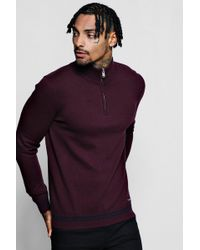 Boohoo - Funnel Neck Cotton Jumper With Zip Neck - Lyst