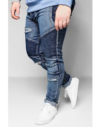 cbb0146236118 Boohoo Big And Tall Ripped Knee Skinny Jeans in Gray for Men - Lyst