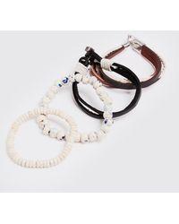 BoohooMAN Anchor Woven Stack Bracelet - Metallic