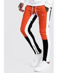 BoohooMAN - Skinny Fit Man Colour Block Joggers - Lyst