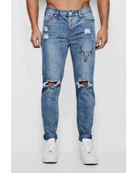 ed58759afea3 Lyst - Boohoo Big And Tall Super Skinny Ripped Knee Jeans in Blue ...