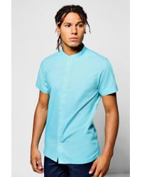 Boohoo | Mint Slim Fit Short Sleeve Grandad Collar Shirt | Lyst