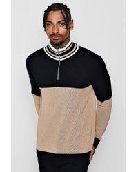 Boohoo - Half Zip Funnel Neck Colour Block Knitted Jumper - Lyst