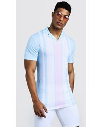 BoohooMAN - Muscle Fit Striped Revere Collar Polo - Lyst
