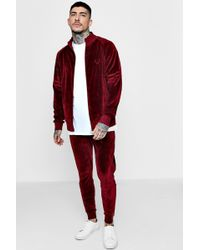 Boohoo - Skinny Fit Velour Embroidered Tracksuit - Lyst