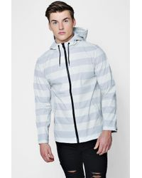 Boohoo - Striped Shower Resistant Coat - Lyst