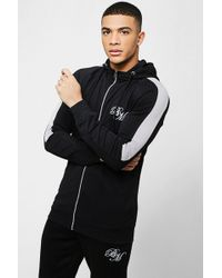BoohooMAN - Muscle Fit Bm Zip Through Hoodie With Arm Panels - Lyst