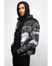 BoohooMAN - Abstract Printed Puffer Jacket - Lyst
