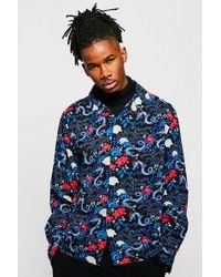 BoohooMAN - Dragon Print Long Sleeve Viscose Revere Shirt - Lyst