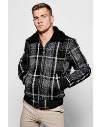 Boohoo - Check Harrington Jacket With Faux Fur Collar - Lyst