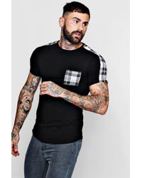 Boohoo - Check Panel Muscle Fit T-shirt With Curve Hem - Lyst