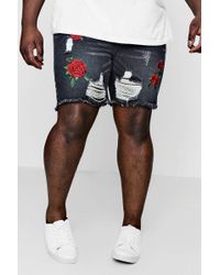 Boohoo - Big And Tall Embroidered Loose Fit Denim Shorts - Lyst