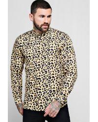 Boohoo - Leopard Print Long Sleeve Shirt - Lyst