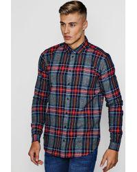 Boohoo - Long Sleeve Flannel Check Shirt - Lyst