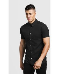 9f680cd0 BoohooMAN - Slim Fit Short Sleeve Shirt With Contrast Buttons - Lyst