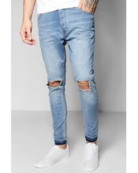 Boohoo - Pale Blue Skinny Fit Ripped Knee Jeans - Lyst ad22f45d1