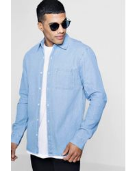 Boohoo - Denim Shirt In Pale Blue Wash - Lyst