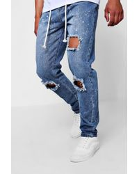 Boohoo - Slim Fit Bleach Splatter Jeans With Zip Cuff - Lyst