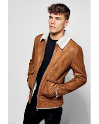Boohoo - Faux Suede Jacket With Borg Collar - Lyst