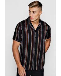 Boohoo - Stripe Short Sleeve Viscose Revere Shirt - Lyst