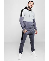 Boohoo - Colour Block Hooded Tracksuit - Lyst