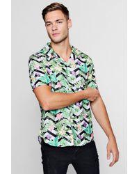 Boohoo - Floral Chevron Short Sleeve Revere Shirt - Lyst
