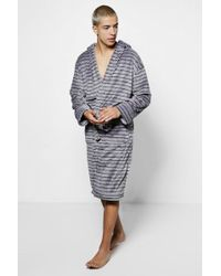 Boohoo - Grey Stripe Print Hooded Robe - Lyst
