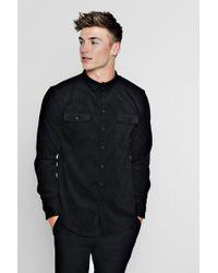 Boohoo - Long Sleeve Cord Double Pocket Shirt - Lyst