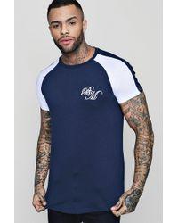 Boohoo - Longline Man Embroidered Raglan T-shirt - Lyst