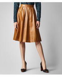 Bottega Veneta - Shiny Pleated Leather Skirt - Lyst