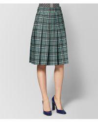 Bottega Veneta - Aqua/nero Wool Skirt - Lyst