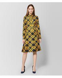 a0d91ff78ea Lyst - Bottega Veneta Dress In Multicolor Printed Crepe De Chine in ...