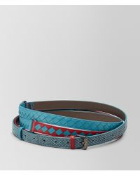 Bottega Veneta - China Red/aqua Intrecciato Check Belt - Lyst