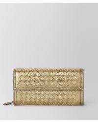 Bottega Veneta - Continental Wallet In Metallic Calf - Lyst