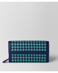 Bottega Veneta - Atlantic/aqua Intrecciato Checker Continental Wallet - Lyst