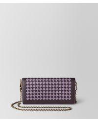 Bottega Veneta - Chain Wallet In Intrecciato Checker - Lyst