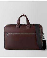 Bottega Veneta - Dark Barolo Intrecciato Checker Briefcase - Lyst