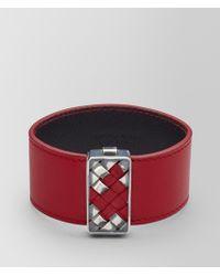 Bottega Veneta - China Red Leather/oxidized Silver Bracelet - Lyst