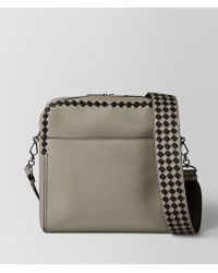Bottega Veneta - Dark Cement/nero Calf Intrecciato Checker Pilot Bag - Lyst
